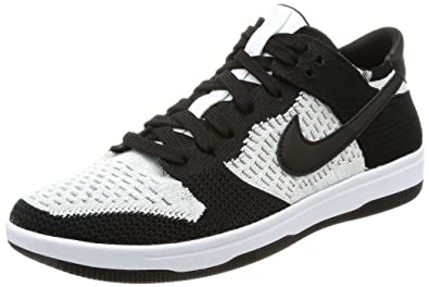Nike Men s Dunk Flyknit White Black-Wolf Grey Ankle-High Basketball Shoe - 4d263de45