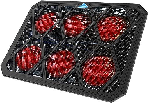 VOXON - Base de Refrigeración Gaming para Portátil con 6 Ventiladores hasta 19 Pulgadas, Iluminación LED Rojo ...