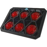 VOXON - Base de Refrigeración Gaming para Portátil con 6 Ventiladores hasta 19 Pulgadas, Iluminación LED Rojo con Puerto…