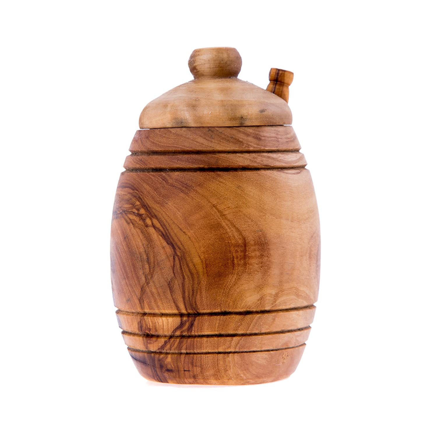 Honey Pot or Jar With Dipper Olive Wood Handmade - 156 ml (5.3 ounce) by Elitecrafters