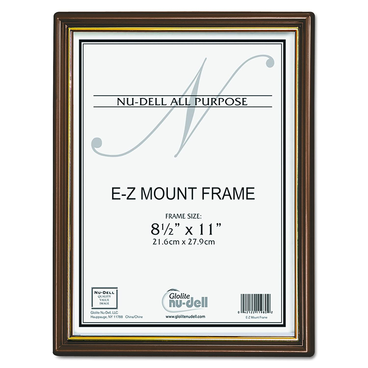 NuDell 8.5 x 11 Inches EZ Mount Document Frame Plastic Face, Black with Gold Trim 11880