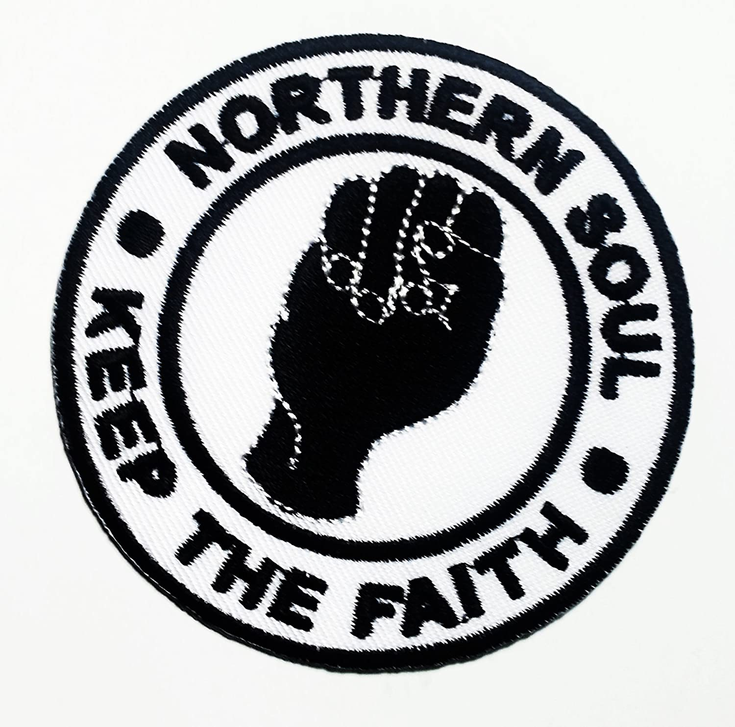 KEEP THE FAITH BLACK NORTHERN SOUL PATCH WHITE