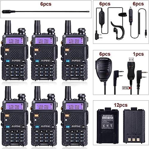 BaoFeng Radio UV-5R Dual Band Ham Radio 6 Pack 1 TIDRADIO Driver Free Programming Cable 6 TD-771 Antennas and Radio Mics 12 1800mAh Batteries Baofeng Walkie Talkie