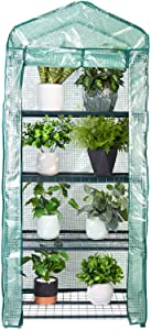 LOSY PET Mini Garden Greenhouse 4 Tier Indoor Outdoor with PE Cover and Roll-Up Zipper Door for Garden Yard Patio Use, Wind Ropes and Hooks, L 26.9 × W 19.1 × H 62.2 Inch