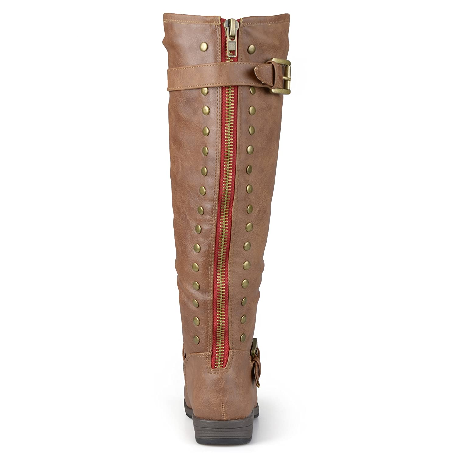 Journee Collection Womens Regular Sized, Wide-Calf and Extra Wide-Calf Studded Knee-High Riding Boot B01N3MR3EK 8.5 Extra Wide|Chestnut