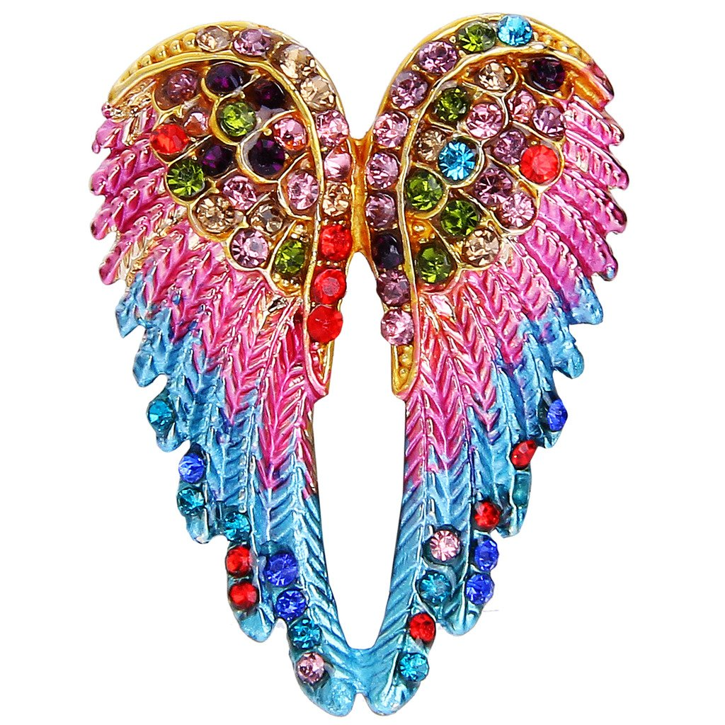EVER FAITH Women's Austrian Crystal Enamel Angel Wings Brooch Pin Multicolor Gold-Tone