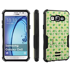 Galaxy [On5] Tough Case [Skinguardz] [Black/Black] ShockProof Armor [Kick Stand] - [Limes Pattern] for Samsung Galaxy [On5]
