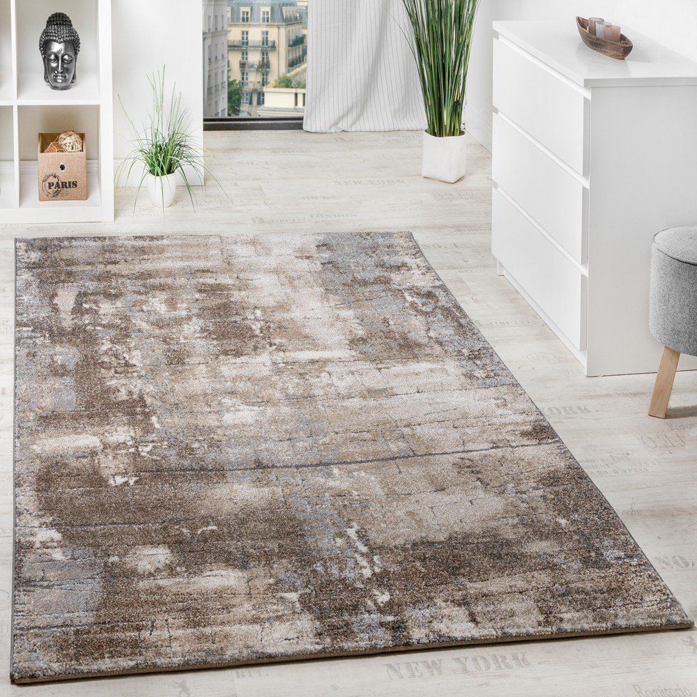 Paco Home Edler Designer Teppich Hochtief-Effekt Steinmauer Optik Beige Grau Meliert, Grösse 80x150 cm