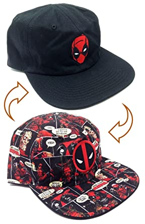 new product 743c1 f9894 Marvel Comics Deadpool Reversible Flat Bill Adjustable Hat