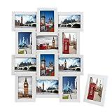 """Songmics Bilderrahmen Collage für 12 Fotos je 10 x 15 cm (4 x 6"""") + 1 x einzelner Fotorahmen aus MDF-Platten weiß RPF112W"""