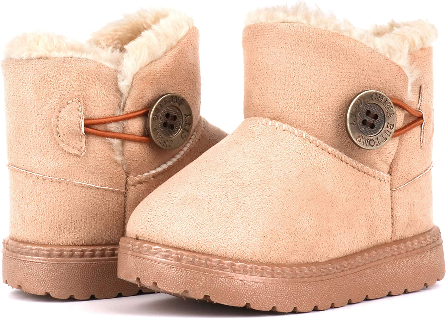 Moceen Toddler Girls Winter Boots Warm Faux-Fur Lightweight Outdoor Button Snow Boots for Kid Boys