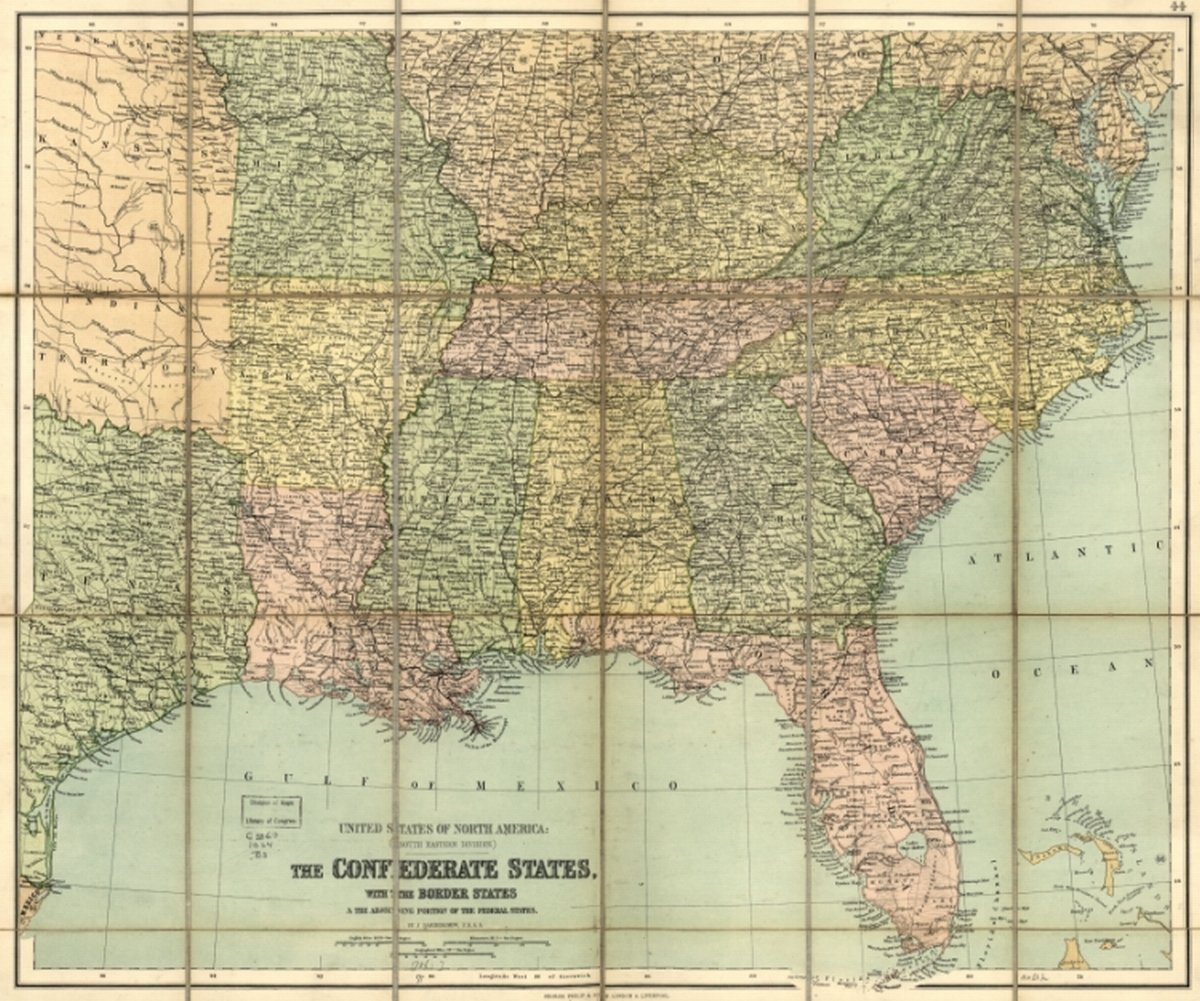 Amazon.com: 1864 Civil War map: Southern States The Confederate ...