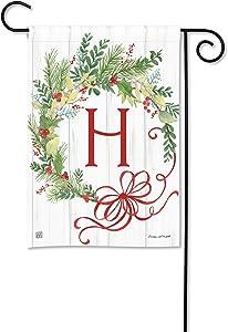 BreezeArt Studio M Winterberry Monogram H Garden Flag - Premium Quality, 12.5 x 18 Inches
