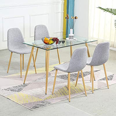 Buy Stylifing Dining Table Set Modern Dining Room Table Set For 4 With Tempered Glass Top Dining Table And 4 Fabric Modern Chairs Home Kitchen Dining Room Office Waiting Room Use Online