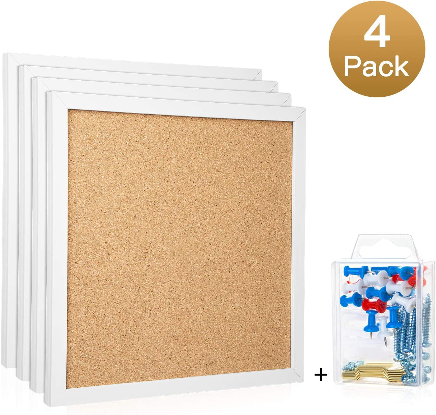 "HBlife Cork Board Bulletin Board 12""X 12"" Square Wall Tiles,Modern White Framed Corkboard for School, Home & Office (Set Including 20 Push Pins,Hardware and Template)"