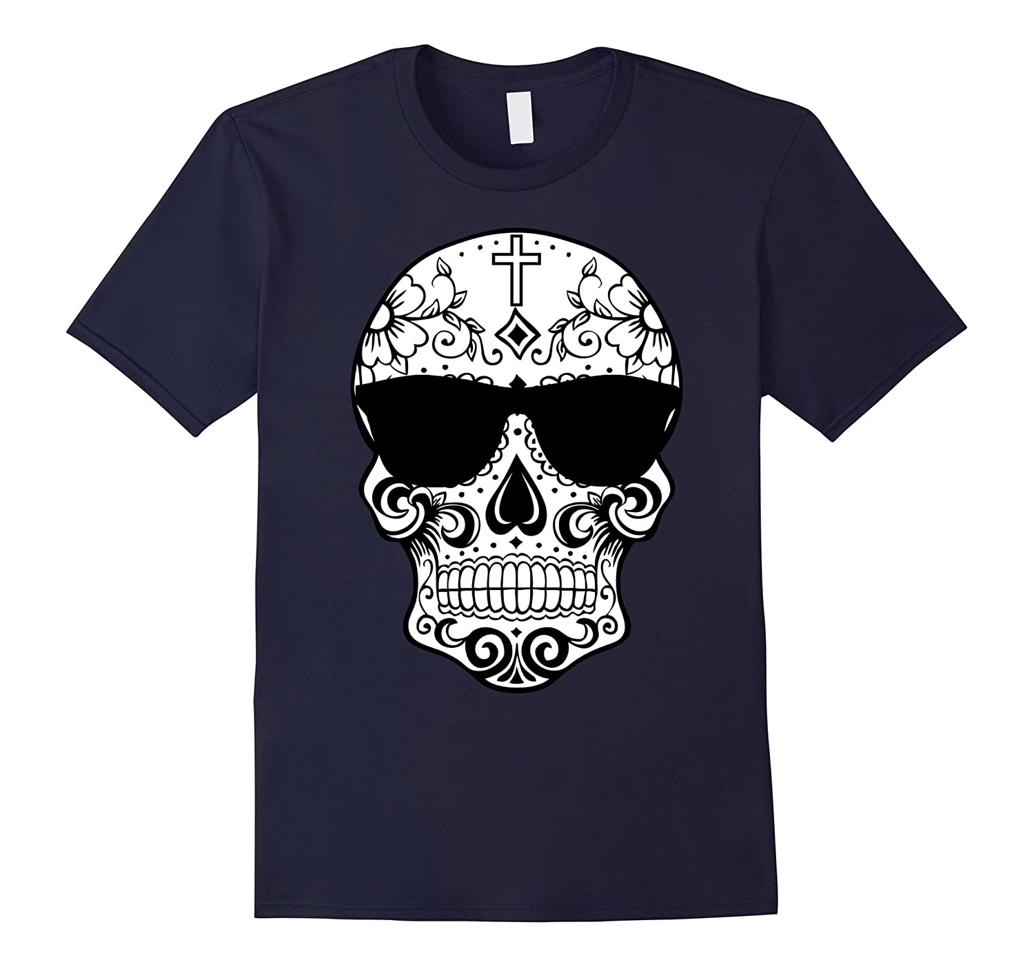 Day Of The Dead Costume TShirts Sugar Skull Pink Sunglasses-FL
