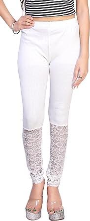 Comix - Mallas de algodón y licra para mujer (talla XXL), color blanco