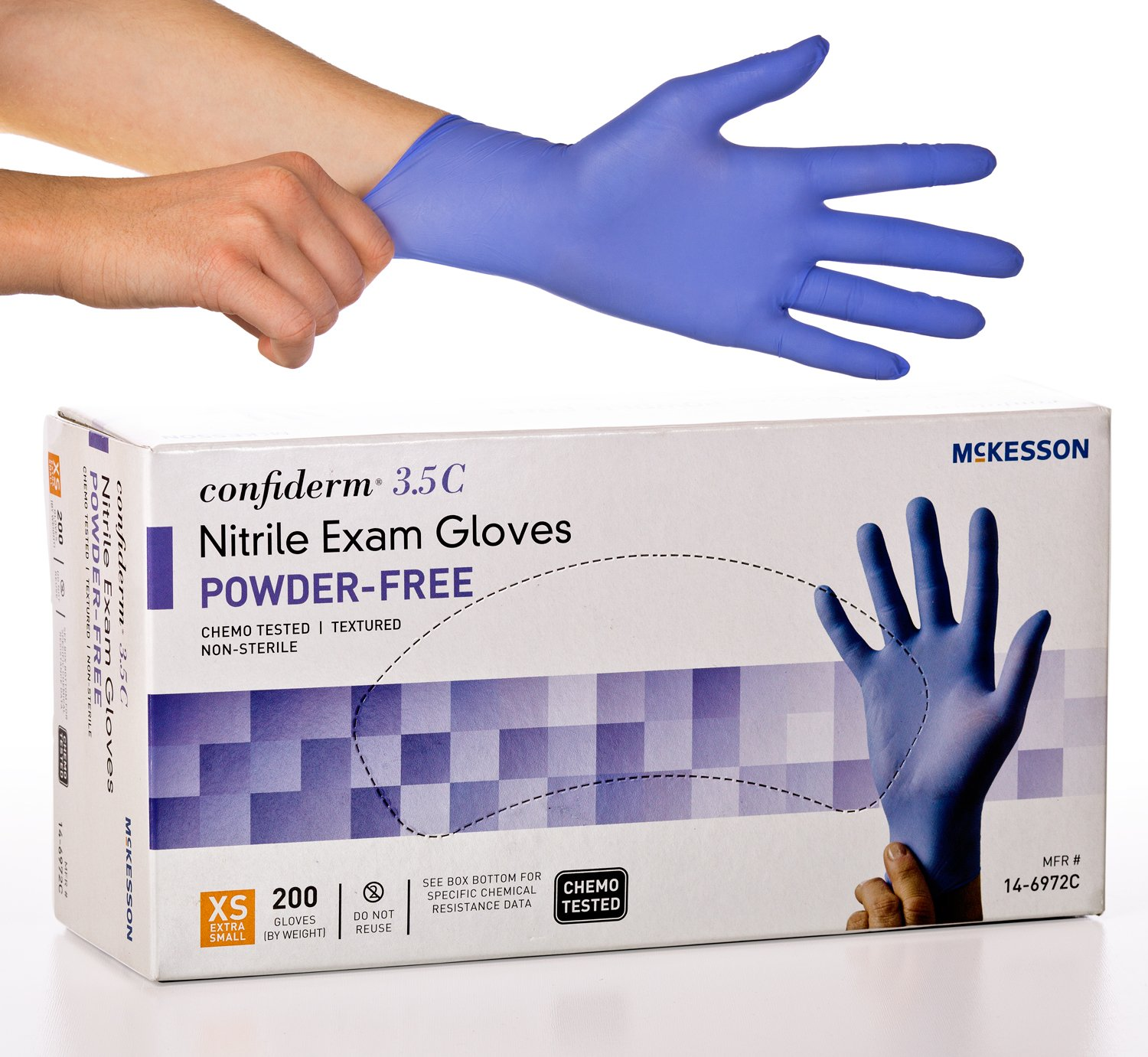 McKesson Confiderm 3.5C Nitrile Latex-Free XSM Exam Gloves, X-Small, Chemo Tested, Powder-Free, 200/BX