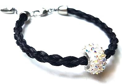 Schwarzes Pferdehaar Armband mit Swarovskibead und