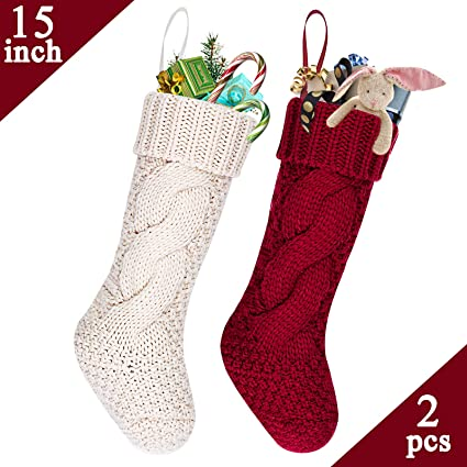 2ffa0a0a29c LimBrige 2 Pack 15 quot  Mid-Size Knit Knitted Classic Christmas Stockings
