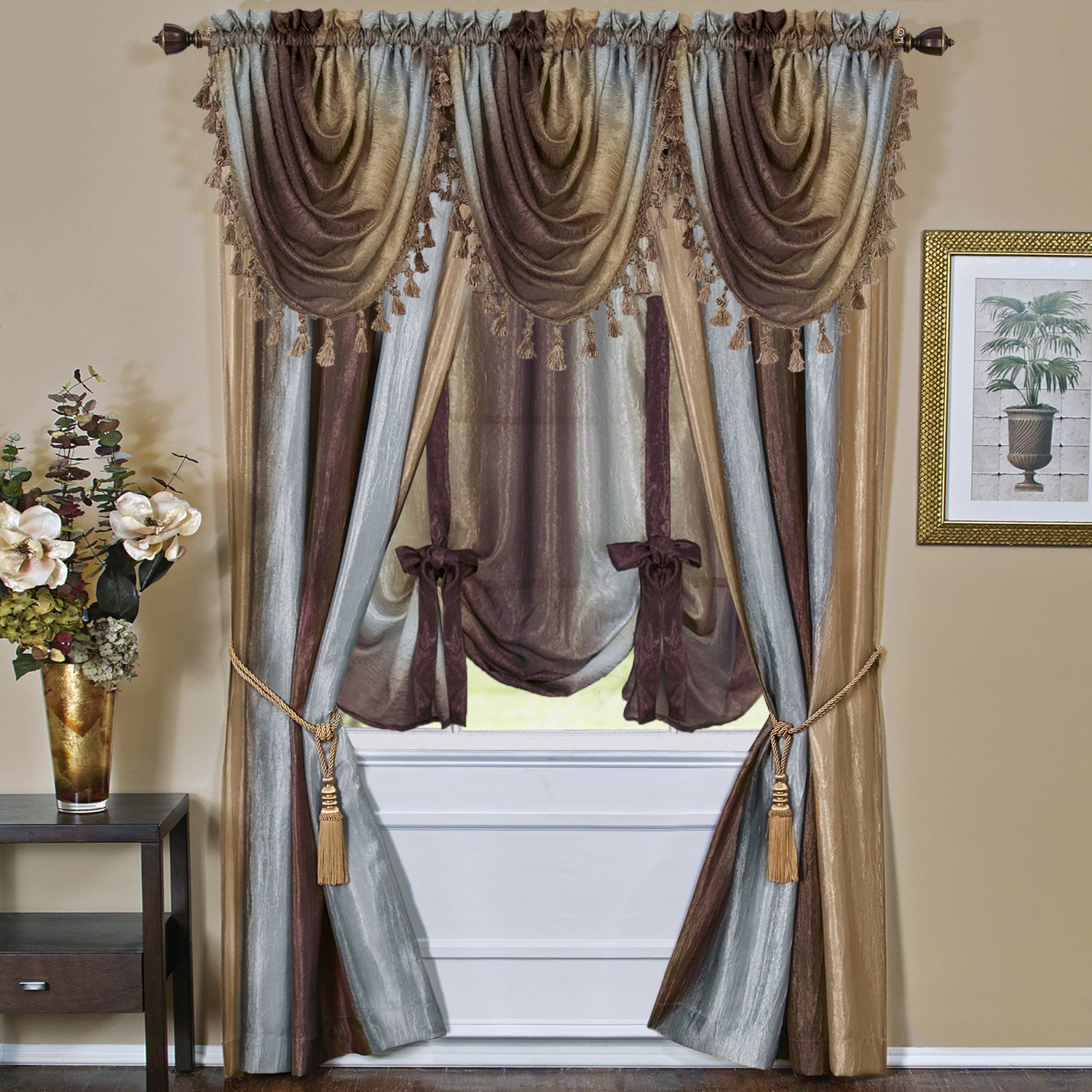 Ombre Curtains With Valance - Amazon com achim home furnishings ombre waterfall valance aubergine home kitchen
