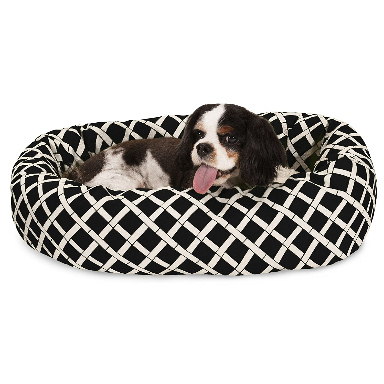24 inch Black Bamboo Sherpa Bagel Dog Bed