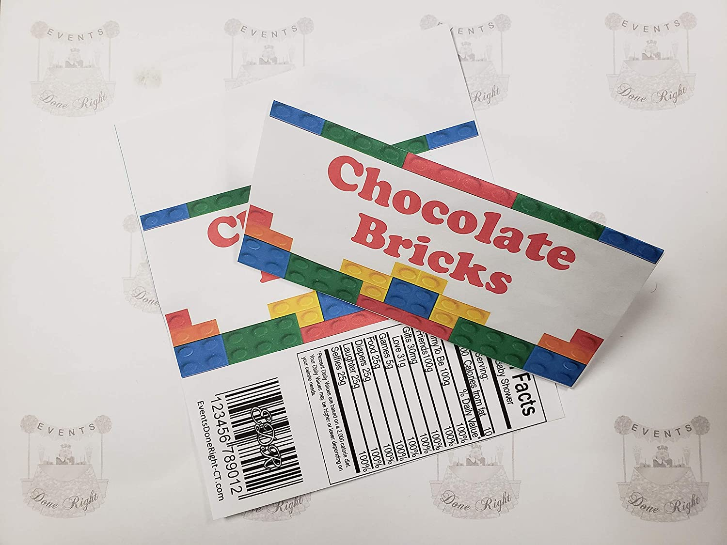 Building Block Candy Bar Wrappers Set of 10 Birthday Party supplies decorations Building Bricks Colors