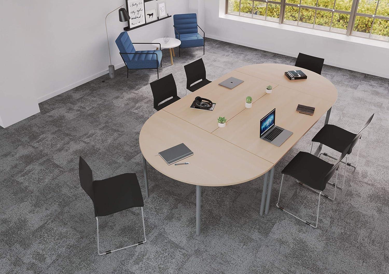 Polished Chrome Frame Office Hippo Multi-Purpose Rectangular Meeting Table Oak Top 160 cm