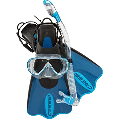 Cressi Light Weight Premium Travel Snorkel Set fo All Family | Palau SAF Set made in Italy