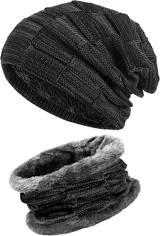 Gorro Con Bufanda y Gorros de punto Sombreros de Invierno para Hombres y Mujeres (Negro)