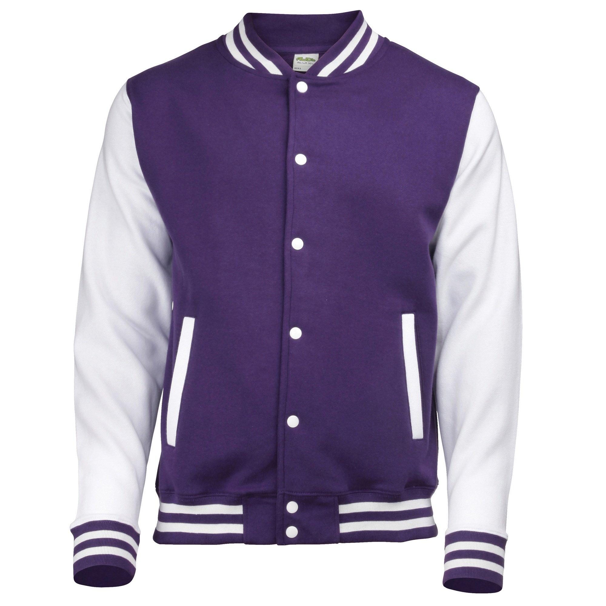 Awdis Unisex Varsity Jacket (XL) (Purple/White) by Awdis
