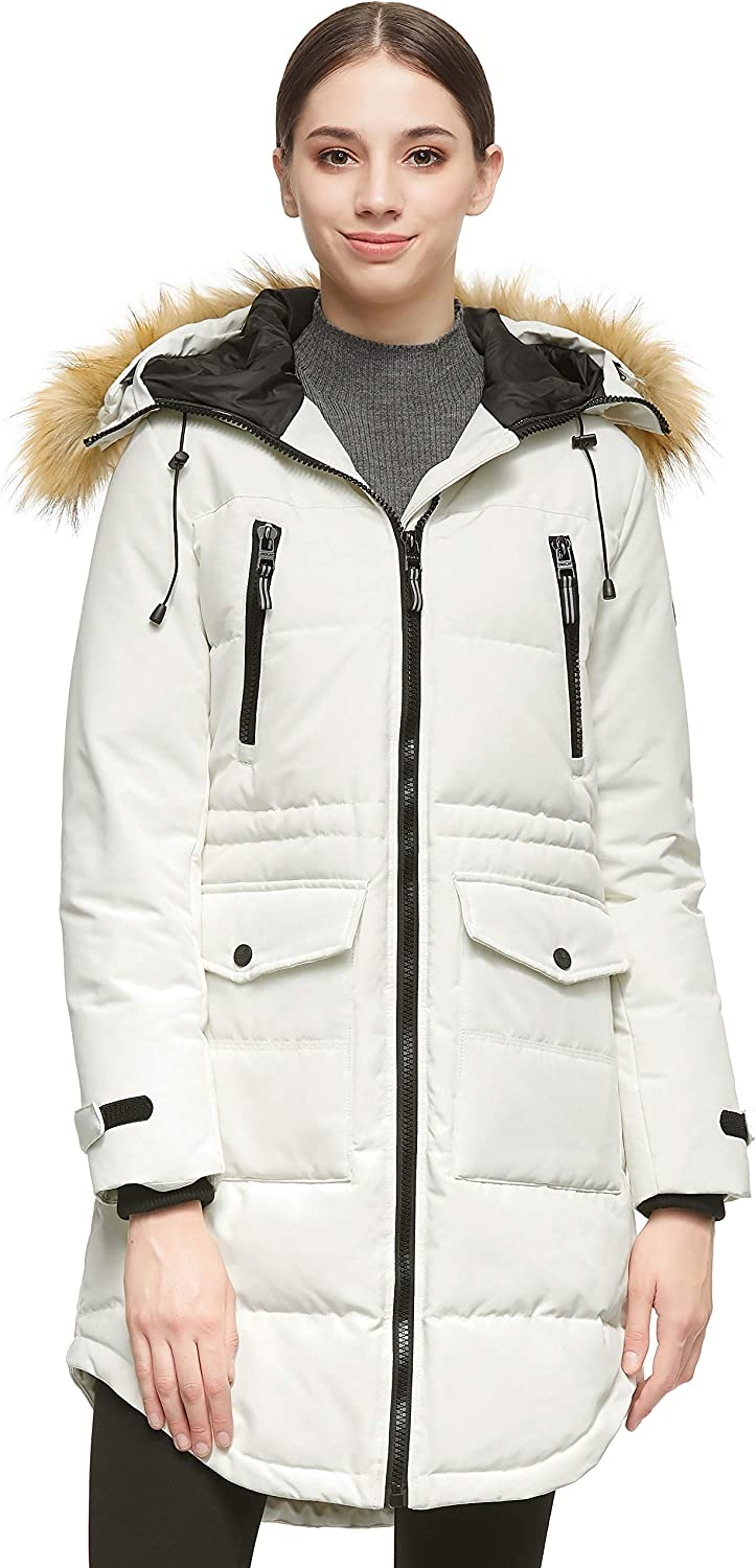 Orolay Women's Thickened Down Jacket Winter Warm Down Coat Beige