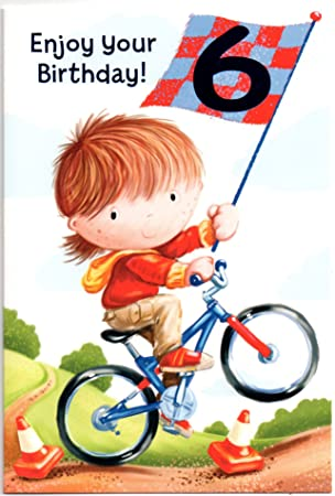 QuotRiding My Bikequot Birthday Card For Six 6 Year Old Boy