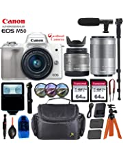 $879 Get Canon EOS M50 Mirrorless Digital Camera (White) w/15-45mm & 55-200mm STM Lens + Pro Accessory Bundle (Including Digital Flash, Equipment Carrying Case, 2X 64GB Transcend Memory Cards and More.)