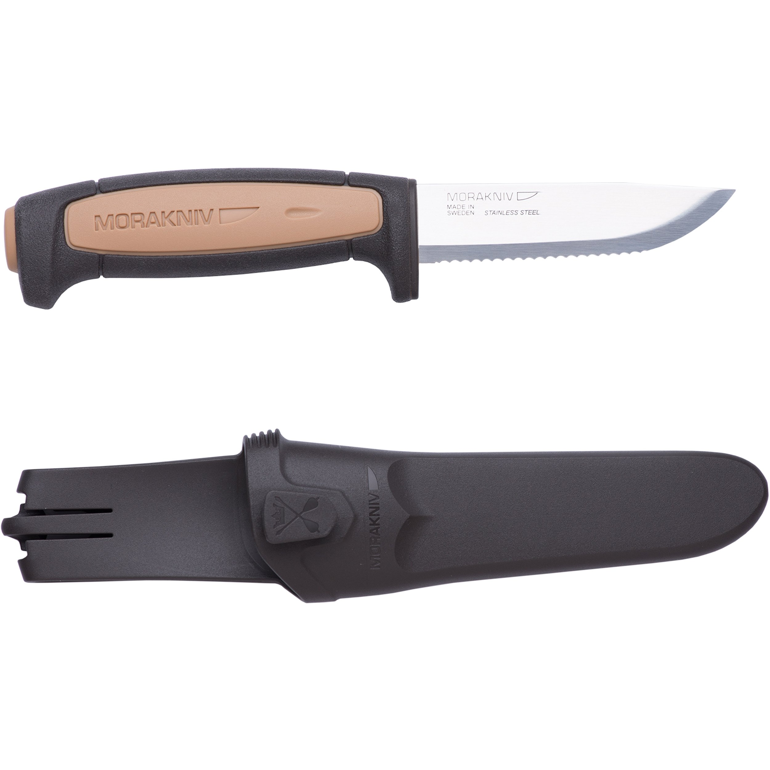 Morakniv Craftline Rope Trade Knife with Serrated Sandvik Stainess Steel Blade and Combi-Sheath, 3.6-Inch