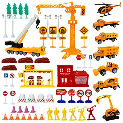 Liberty Imports Engineering Construction Site Pretend Play Toy Set in Bucket - Variety Pack with Diecast Cars, Trucks, Equipment Vehicles, Figures, Signs, Cones, and Accessories: Toys & Games