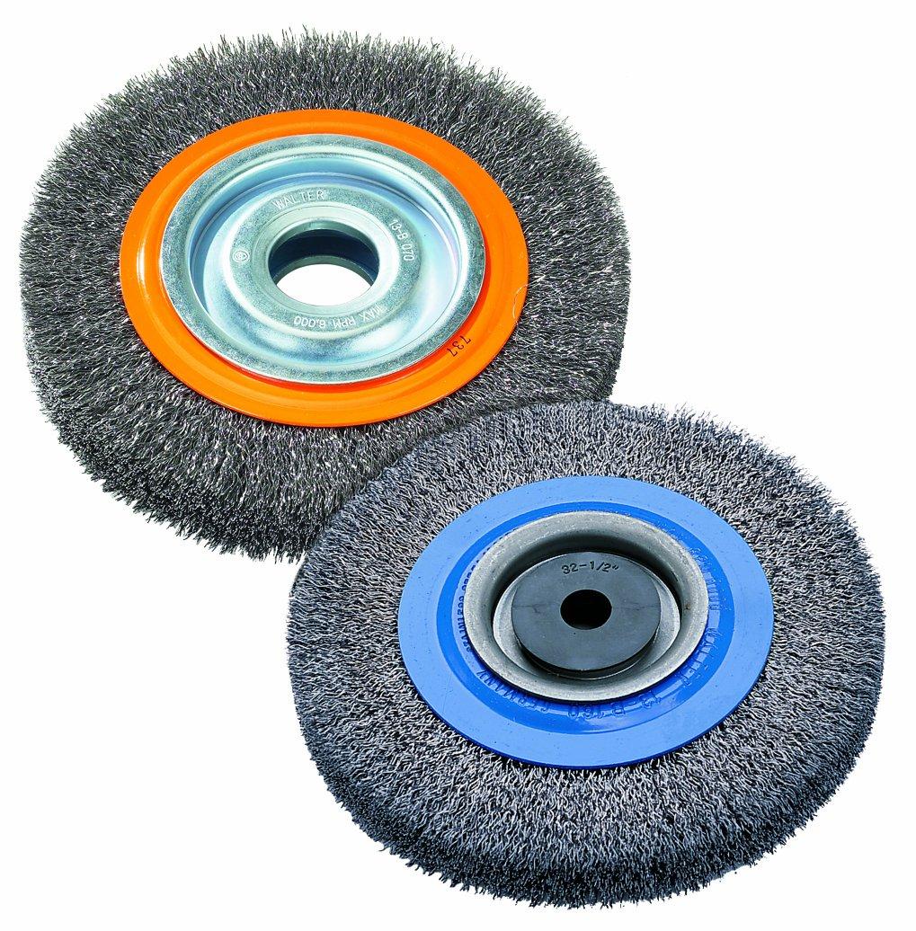 Walter 13B080 Stringer Bead Wheel Brush - 8 in. Orange Abrasive Wheel Brush with Crimped Wires, Round Hole, Carbon Steel