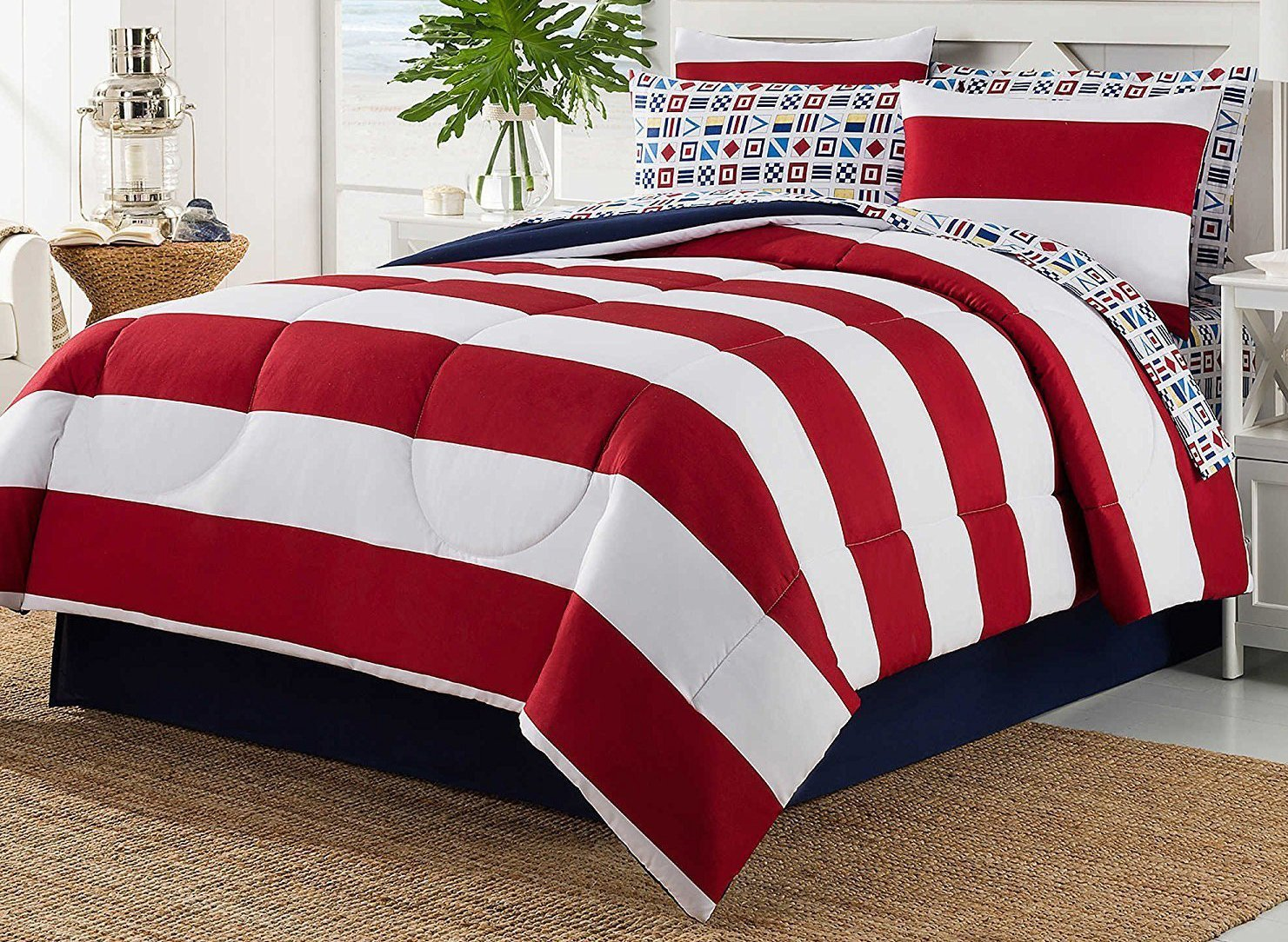 Dovedote 8 Piece Bed in Bag Rugby Comforter Cotton Sheet Set (Cal King)