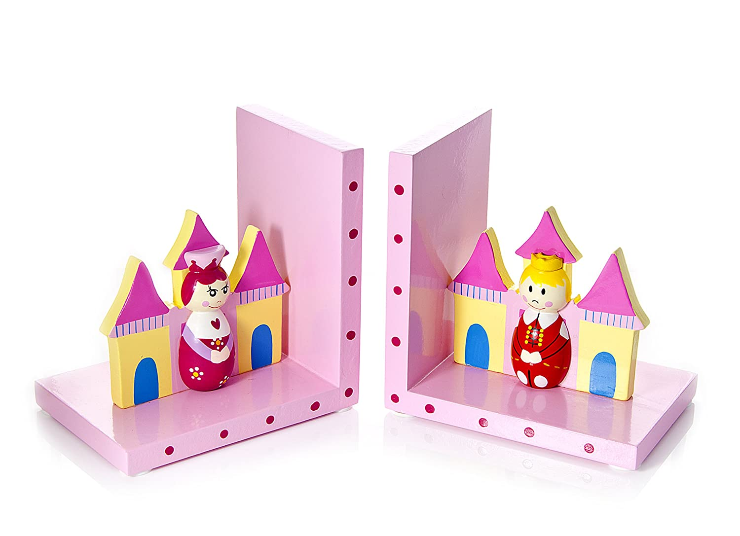 Mousehouse Gifts Pink Prince and Princess Children's Wooden Bookends for Girls Nursery or Bedroom