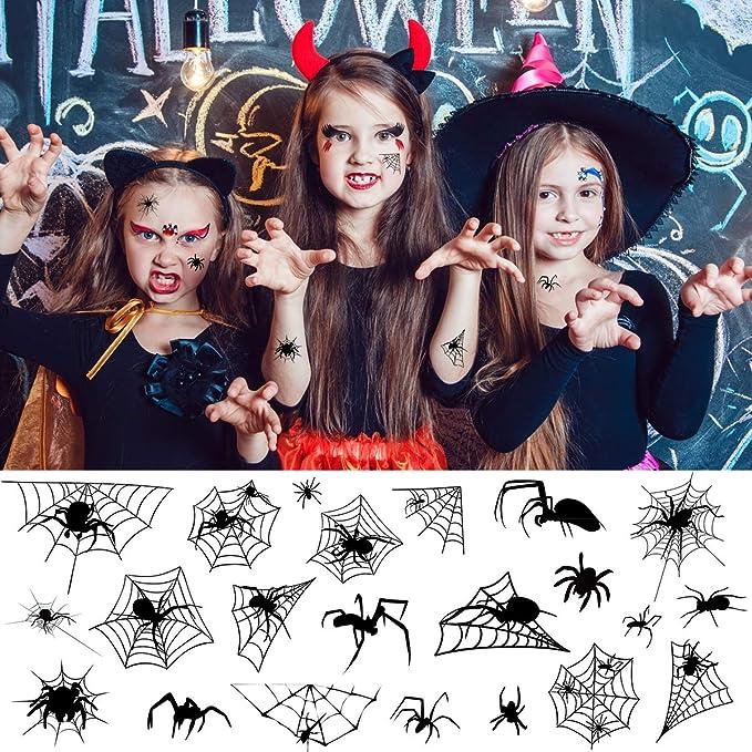 Frcolor Tatuajes de Halloween de 10 hojas, tatuaje facial temporal ...