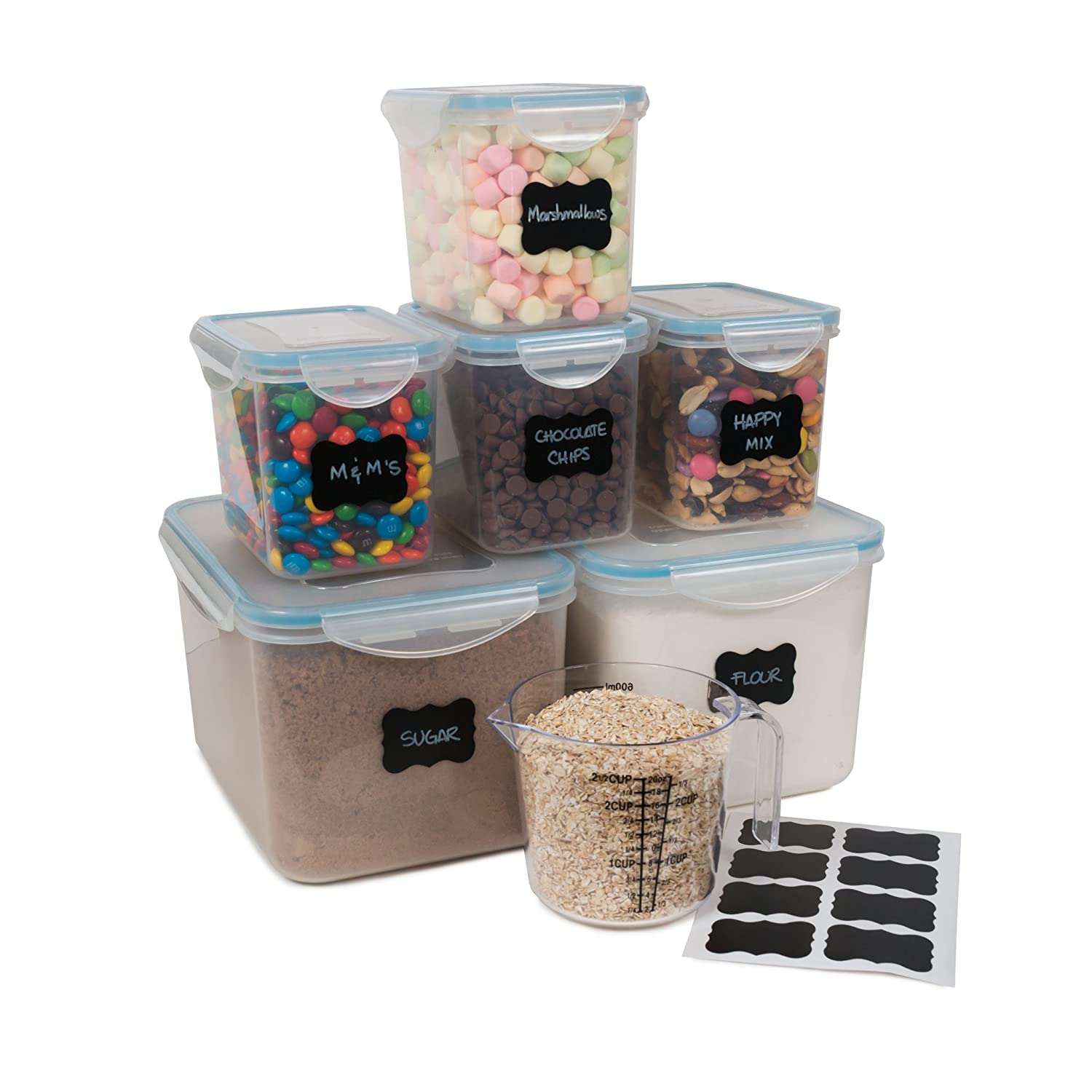 Gabmi Airtight Large Food Storage Containers - Set of 6 - Ideal for Flour, Sugar, Baking Supplies - Bulk Pantry Food Storage & Kitchen Container - Bonus 2 ½ Measuring Cup & 8 Chalkboard Stickers