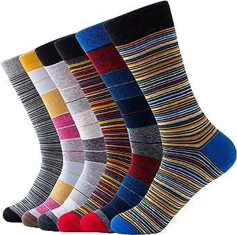 Relaxife Calcetines de hombre de negocios, de algodón, para traje, de color negro, multicolor, con diseño de rayas, 6 unidades