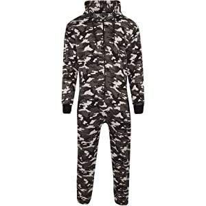 Unisex Mens Aztec Army Print Onesie Zip Up All In One Hooded Jumpsuit S-XL X-Large, Black Aztec