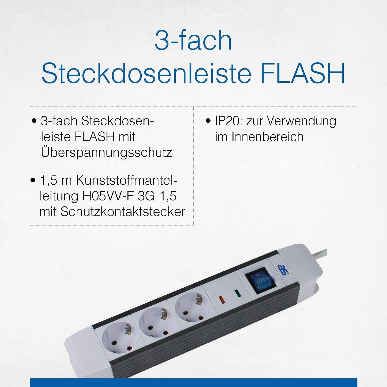 """as-Schwabe 6-fach Steckdosenleiste /""""FLASH/""""1,5m Kunststoffmantelleitung H05VV-F3G"""