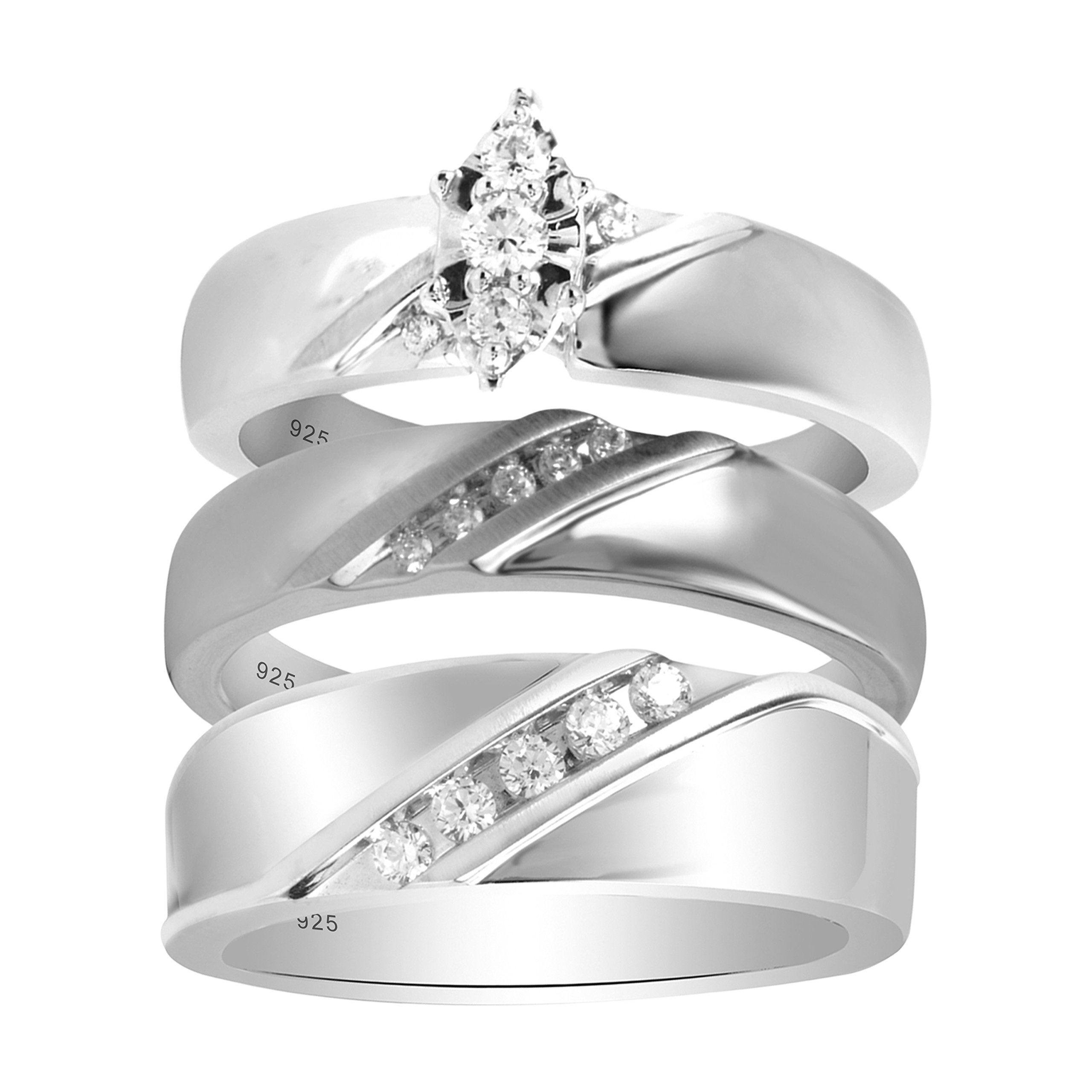 Sterling Silver 1/3cttw Men and Women's Diamond Engagement and Wedding Ring Set