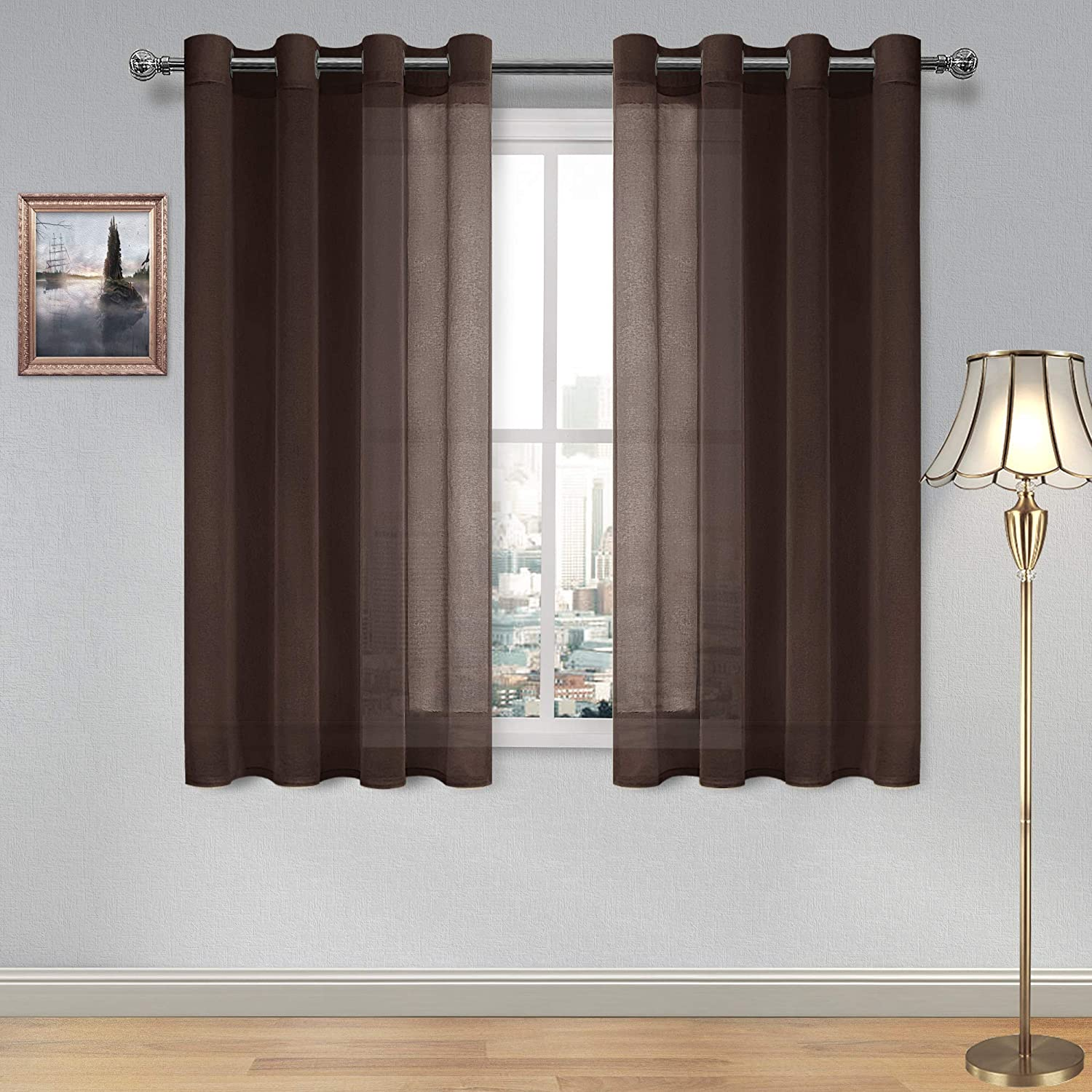 DWCN Brown Sheer Curtains Linen Look Semi Transparent Voile Grommet Curtains for Living Room Bedroom Drapes 52 x 45 inch Length, Set of 2 Panels
