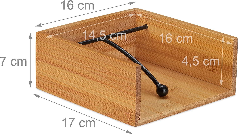 Relaxdays Serviettenhalter Bambus f/ür 25 x 25 cm Servietten Flacher Tisch Serviettenst/änder mit Beschwerer Natur