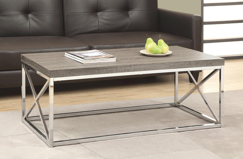 Amazon.com: Monarch Specialties I 3258, Cocktail Table, Chrome Metal, Dark  Taupe: Kitchen U0026 Dining
