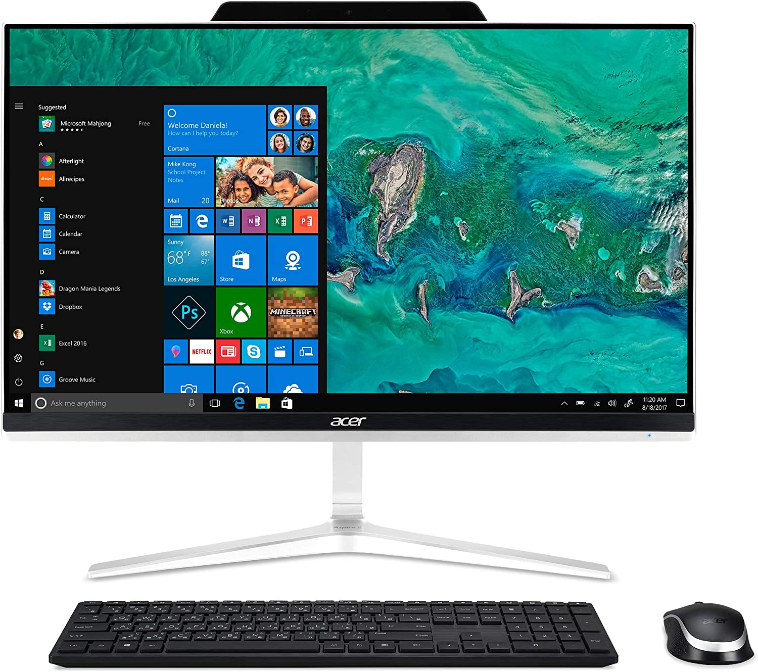 "Acer Aspire Z24-890-UA91 AIO Desktop, 23.8"" Full HD, 9th Gen Intel Core i5-9400T, 12GB DDR4, 512GB SSD, 802.11ac WiFi, USB 3.1 Type C, Wireless Keyboard and Mouse, Windows 10 Home, Silver"