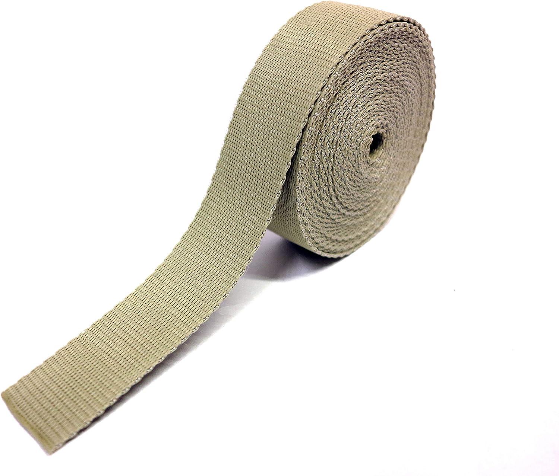 Cinta de nailon Made in Italy, correa para cascos, bolsos, mochilas, moda y accesorios / Color beige, de varias longitudes (2 m, 5 m, 10 m, 20 m, 50 m, 100 m) x 3 cm de altura y un grosor de 1,8 mm